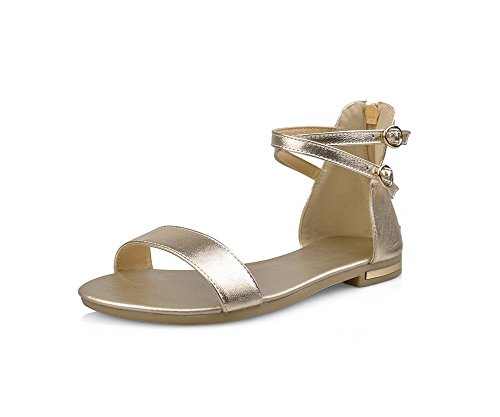 Gold Open Sandals Zipper Soft No Flats Heel WeenFashion Toe Women's Solid Material w0SPv1q