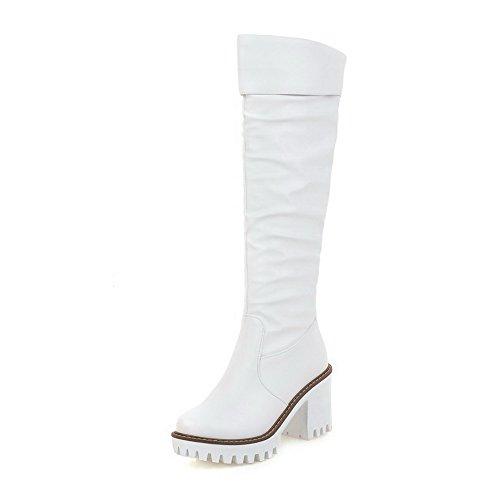 AgooLar Damen Rein Rund Zehe Ziehen auf Rund Zehe Ziehen auf Stiefel, Weiß, 35
