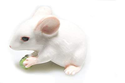 Animal Miniature Handmade White Rat Mouse Statue Porcelain Figurine Statuette Collectibles