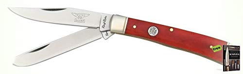 (Rough Rider Red Smooth Bone Handle Trapper Stainless Folding Blades Knife + Free eBook By SURVIVAL STEEL)