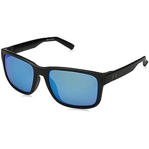 Under Armour UA Assist Wayfarer Sunglasses, UA Assist Satin Black / Black Frame / Gray / Blue Multiflection Lens, 54 mm