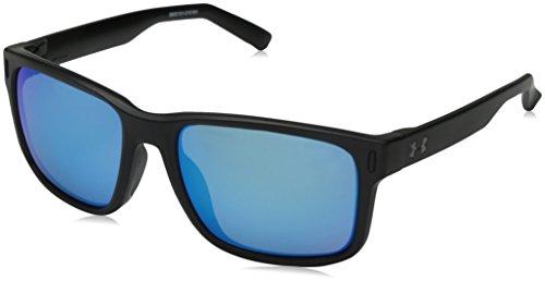 Under Armour UA Assist Wayfarer Sunglasses, UA Assist Satin Black / Black Frame / Gray / Blue Multiflection Lens, 54 - Sunglasses Ua