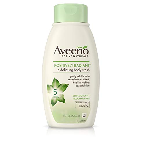 Aveeno Positively Radiant Exfoliating Body Wash with Moisture-Rich Soy Complex & Crushed Walnut Shell for Dry, Dull Skin, Soap-Free, Dye-Free & Hypoallergenic Formula, 18 fl. Oz (Pack of 3)