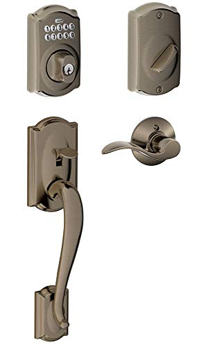 Schlage FE365-CAM-ACC-RH Right Handed Camelot Electronic Handleset with Accent L, Antique Pewter (Series Antique Accents Pewter)