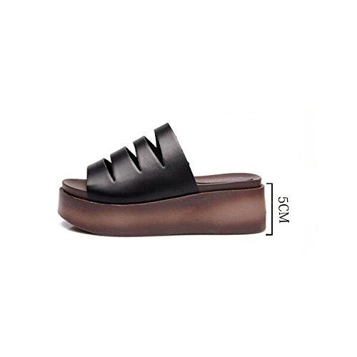 Noir Haizhen Blanc Noir Femmes Épais Cool couleur Sandales Femme 5 Été Taille Pour Sandales Cn38 5cm Chaussures Occasionnels Les Femmes Pantoufles Eu38 Uk5 Blanc gdx7Pwgq