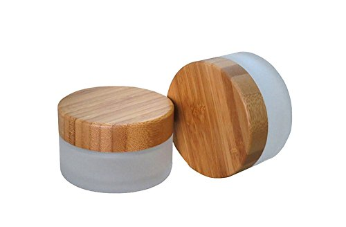 TOPWEL 50ML(50g) Frosted Glass with Bamboo Lid Empty Refillable Cosmetic Cream Jar Pot Bottle Container (2PCS)