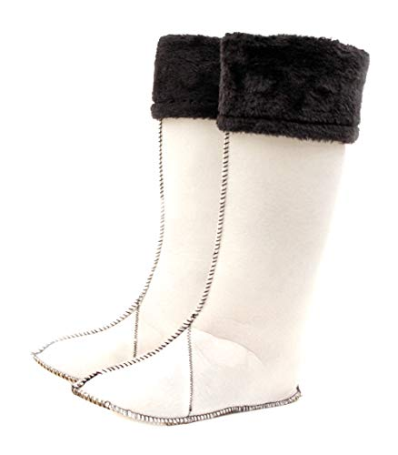 - Luckers Women's Tall Fleece Rain Boots Liners (5-6, Black/White)