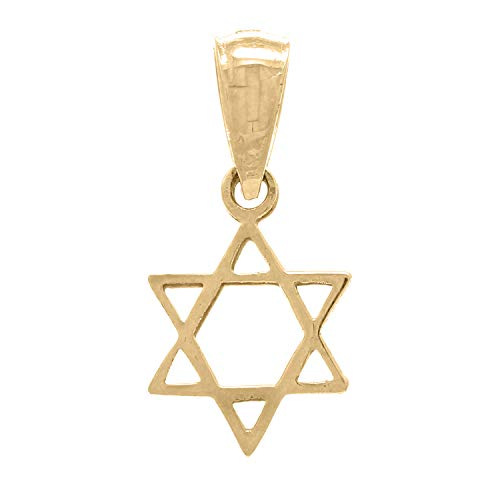 14K Yellow Gold Simple Classic Star of David Charm or Pendant (1/2