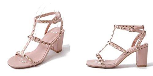 Sandales Boucle Chaussures Shopping épais Rivets xie 41 fête pour 6 5cm Confort Une d'été Travail Talon Dames 33 à Mot pdqvfxFw
