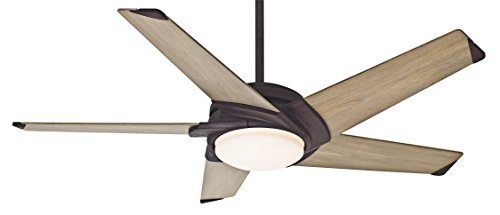 Casablanca Fan Company 59092 Stealth 54-inch Industrial Rust Ceiling Fan with River Timber Blades and Cased White Glass Light