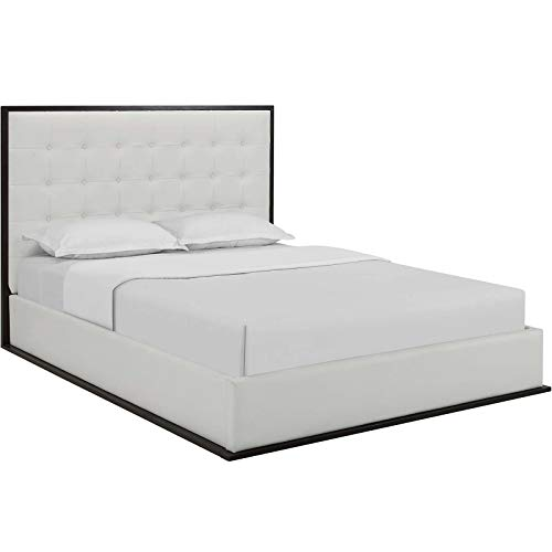 Modway Madeline Queen Vinyl Bed Frame in Cappuccino White wi