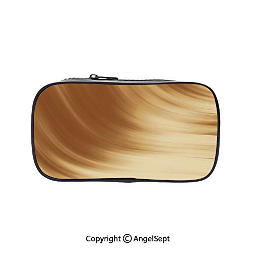 Cute Pencil Case - High Capacity,Curved Wave Like Conceptual Artistic Display Creamy Effect Soft Colored Subtle Image Cream Tan 5.1inches,Multifunction Cosmetic Makeup Bag,Perfect Holder for Pencils ()