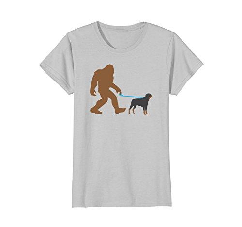Womens Bigfoot Walking Rottweiler Dog Shirt, Funny Sasquatch Gift Small Silver