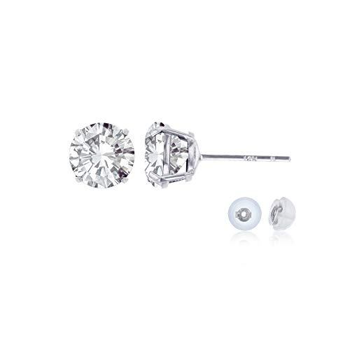 Genuine 14K Solid White Gold 6mm Round Natural White Topaz April Birthstone Stud -