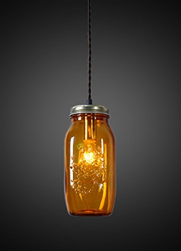 Design Tree Home Amber Jar Pendant, Mason Jar Ceiling Light, Orange