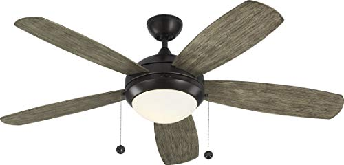 Monte Carlo 5DI52AGPD Protruding Mount, 5 Light Grey Weathered Oak Blades Ceiling fan with 75 watts light, Aged - Ceiling Pewter Blade