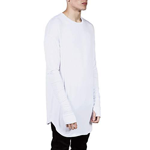 Mens Coolmax Show Shirt (NRUTUP Men's Fashion Casual O-Neck Hip Hop Loose Solid Long Sleeve T-Shirt Top Blouse Cheap!(White,XXL))