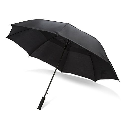 Easton Grey Extra Large Windproof Golf Umbrella: 62 Inch Automatic Open Outdoor Ribbed Fiberglass Frame Rain Umbrellas - Sturdy Oversized Double Vented Canopy & Waterproof Sun Shield for Men & Women (Cart Golf Third)