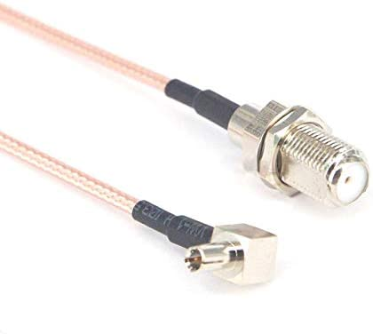 2 Pieces F Female Jack to TS9 Male Rightangle Plug pigtail Cable Extension Cable 15CM