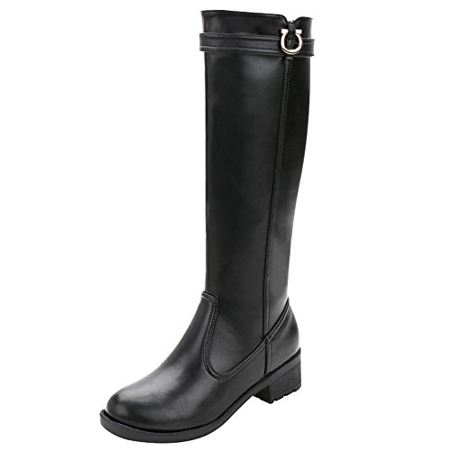 rismart Women's Knee High Tall Winter Waterproof Split Leather Riding Boots SN02915(Black,us8.5)
