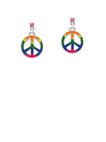 Large Rainbow Colored Peace Sign Hot Pink Crystal Post Earrings