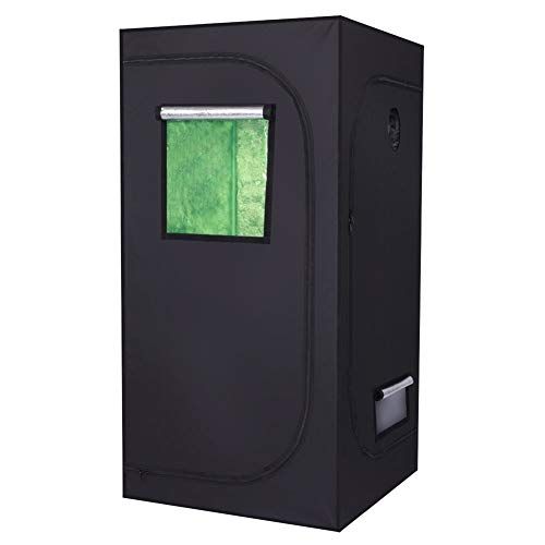 NioEsho 36″x36″x72″ Hydroponic Grow Tent with Observation Window, Floor Tray and Heavy-Duty Steel Pole for Indoor Plant Growing