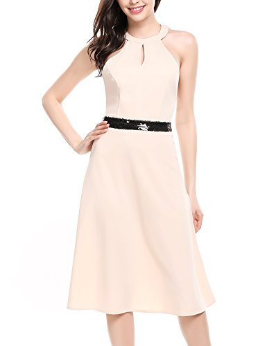 ANGVNS Halter Backless Pleated Bridesmaid