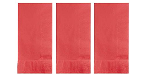 3 Pack of 50 Creative Converting Touch of Color Paper Dinner Napkins, Coral -