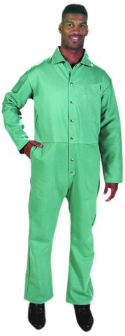 Steel Grip GS16700-XL Green Durable Flame Resistant 9-Ounce Sateen Cotton Coverall, X-Large