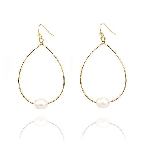 (Pomina Wire Teardrop Earrings with Fresh Water Pearl for Women (Gold))