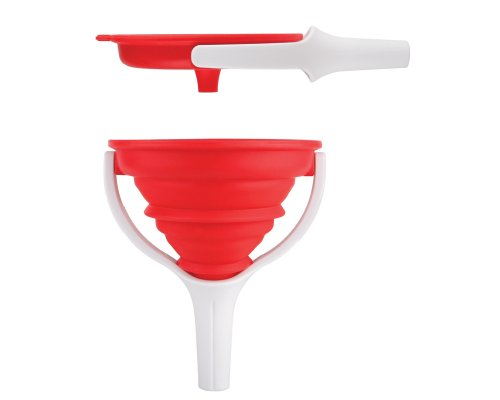 Dexas POP Collapsible Silicone Funnel, 4.5 inch diameter, Red and White