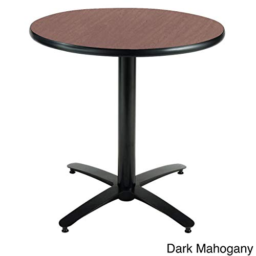 (KFI Seating Round Pedestal Table with Arched X Base, Commercial Grade, 30-Inch, Dark Mahogany Laminate, Made in the USA)