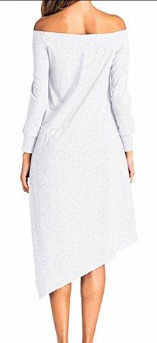 Jaycargogo Des Femmes De Couleur Solide Basique À Manches Longues Robe Épaules D'ourlet Irrégulier Blanc