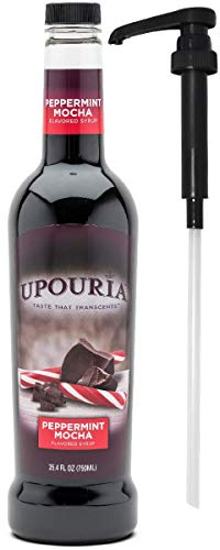 Upouria Coffee Syrup - Peppermint Mocha Flavoring Syrup, 100% Gluten Free, Vegan, and Non Dairy, 750 mL Bottle - Coffee Syrup Pump Included