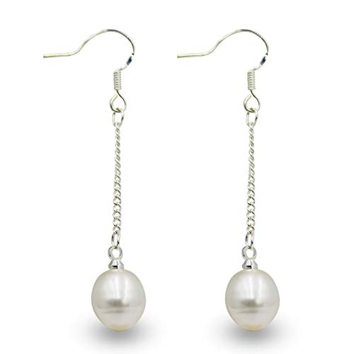 NEL Pink Imitation Pearl Platinum Plated Hook Drop Dangle Earrings for Party, Meeting, Wedding Ceremony (White)
