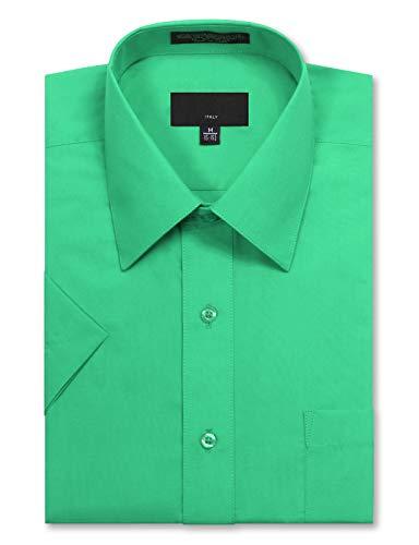 JD Apparel Men's Regular Fit Short Sleeve Dress Shirts 17-17.5N X-Large Light - Aqua Light Green