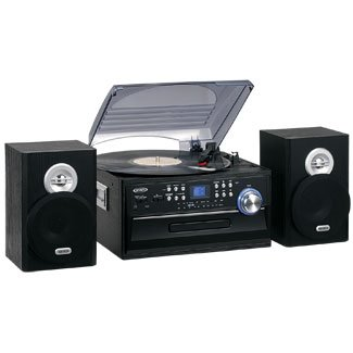 Jensen 3-Speed Turntable with CD Player, AM/FM Stereo Radio,