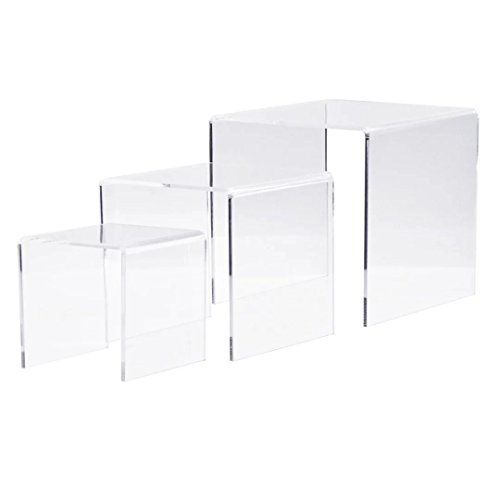 Presentation Cabinet 4in 1 (Clear Nested Acrylic Risers Set of 3 (3-Inch, 4-Inch, 5-Inch) by Combination of Life)