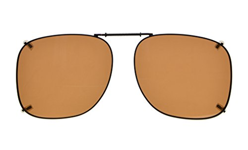 Eyekepper Metal Frame Rim Polarized Lens Clip On Sunglasses 2 3/16x1 7/8