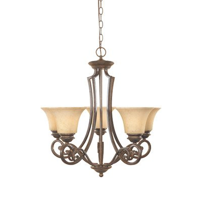 "Designers Fountain 81885-FSN Mendocino 5 Light Chandelier, 25.25"" x 24.75"" x 24.75"""