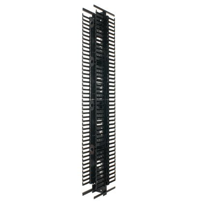 Panduit PRV8 Vertical Cable Manager with Steel Back and Finger, Black