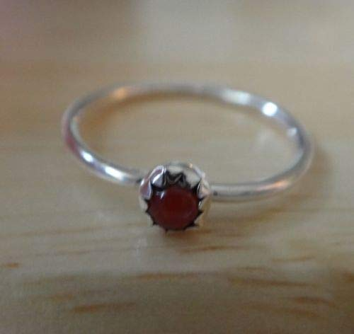 Shop Globe Size 1.75 Tiny 3mm Sterling Silver Red Coral Stone Baby Ring Handmade (Navajo Stone Pendants)