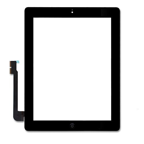 FixCracked Screen Replacement for iPad 3,Digitizer Touch Screen Front Glass Assembly Black-Includes Home Button + Camera Holder + PreInstalled Adhesive with tools kit