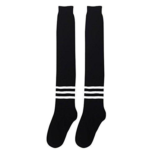 MML Women Winter Knitted Over knee Long Boot Stripe Warm Non-slip Socks Leggings Black CnTdUu