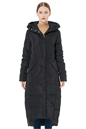 Orolay Women's Puffer Down Coat Winter Maxi Jacket with Hood Black S ()