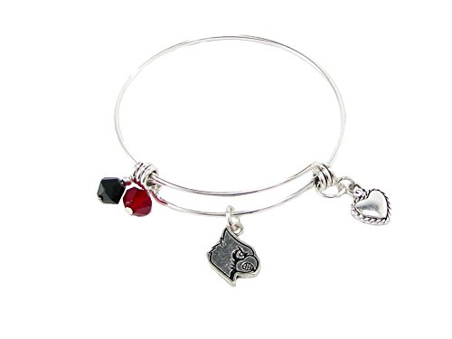 Sports Accessory Store Louisville Cardinals Red Austrian Crystal Silver Wire Bangle Bracelet Jewelry UL