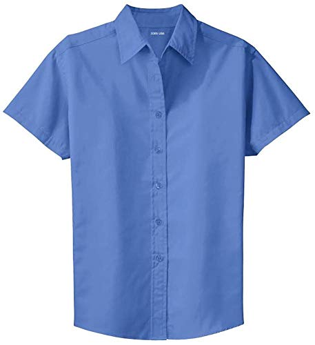 Joe's USA Womens Short Sleeve Wrinkle Resistant Easy Care Shirts-S Ultramarine Blue