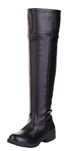 [Adult Mens Cosplay Knee High Boot Fashion Riding Boots (11, Black)] (Mens Black Knee High Boots)