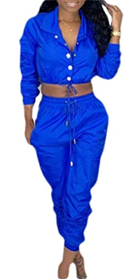 アカデミー種近似maweisong Women 2 Piece Outfits Tracksuit Plain Windbreaker Jacket Crop Top Pants