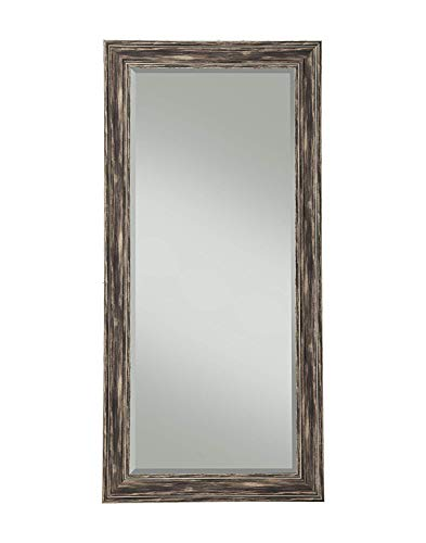 Full Length Wall Mirror - Rustic Rectangular Shape Horizontal & Vertical Mirror - Can Be Use in Living Room, Bedroom, Entryway or Bathroom (Antique Black)